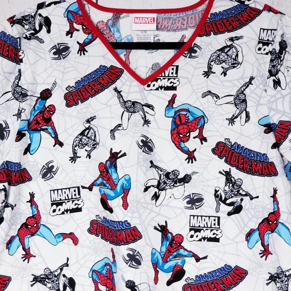 407eddf30 Tops | Spiderman Scrubs Top Nurse Shirt Pockets | Poshmark